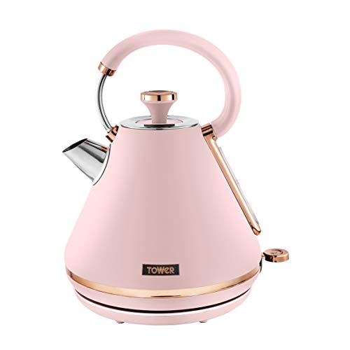 Tower T10044PNK Cavaletto 1.7 Litre Pyramid Kettle with Rapid Boil, Detachable Filter, Stainless Steel, 3000 W, Marshmallow Pink and Rose Gold