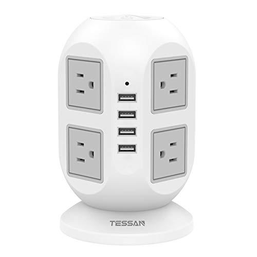 Estación de carga TESSAN de 8 tomacorrientes de CA con 4 puertos USB