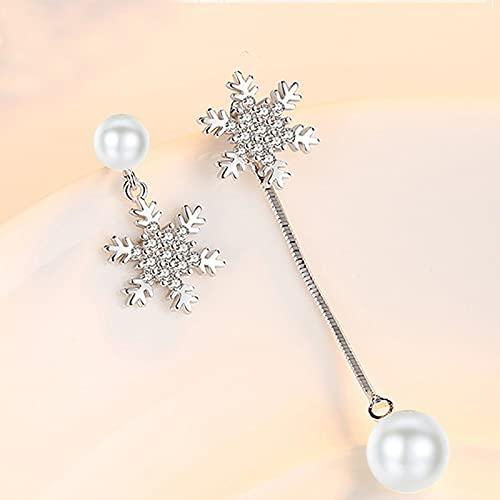 DJMJHG Pendientes asimétricos de borlas asimétricas de Copo de Nieve de Cristal Brillante de Perlas de imitación de Plata de Ley 925 para Regalo de Mujer