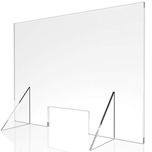Sneeze Guard - 20' W x 24' T Acrylic Divider Protection Barrier Shield Checkout Counter Desk