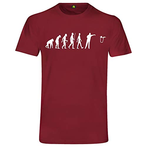 Evolution Bier Pong T-Shirt | Bierpong | Beer | Beerpong | Party | Alkohol Bordeaux Rot L