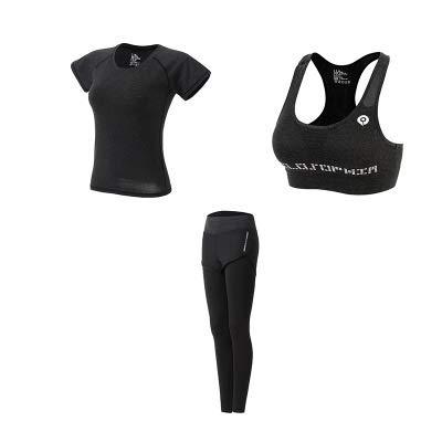 YEESEU Sexy Slim Sport Ropa para Mujer Ropa de Fitness Ropa Deportiva Ropa de Yoga Conjunto de 5 Piezas (Color : Dark Gray 3 Piece, Size : XL)
