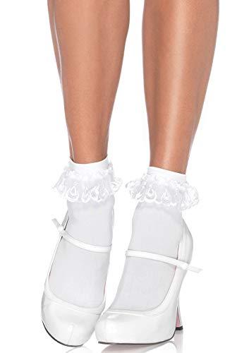 Leg Avenue Anklet With Lace Ruffle , weiß , Einheitsgröße