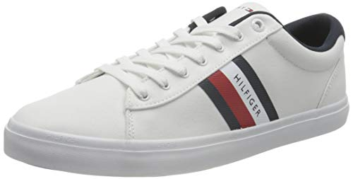 Tommy Hilfiger Essential Detail, Dettaglio Stripes Essenziale Sneaker Uomo, Bianco, 43 EU