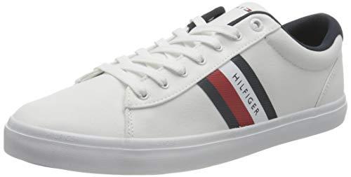 Tommy Hilfiger Essential Stripes Detail Sneaker, DETALLADOR DE Rayas Esenciales Hombre, White, 42 EU