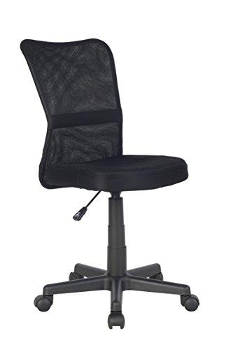SixBros. Bürostuhl,Schreibtischstuhl, Drehstuhl für's Büro oder Kinderzimmer, stufenlos höhenverstellbar, Schreibtischstuhl für Kinder aus Stoff, schwarz H-298F/2064