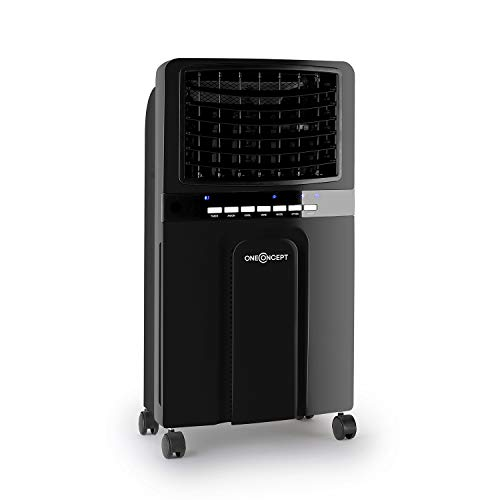 OneConcept Baltic Black - 3-in-1: Air Cooler, Fan, Humidifier, 65 Watts, Air Circulation: 360 m? / h, Tank: 6 Litres, 2 Cooling Batteries, Horizontal Oscillation, Timer, Quiet Operation, Black