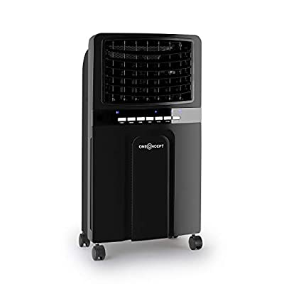OneConcept Baltic Black - 3-in-1: Air Cooler, Fan, Humidifier, 65 Watts, Air Circulation: 360 m³ / h, Tank: 6 Litres, 2 Cooling Batteries, Horizontal Oscillation, Timer, Quiet Operation, Black