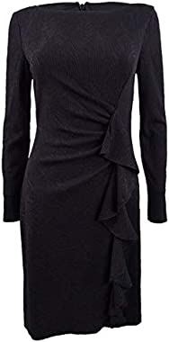 Jessica Howard Women's Long Sleeve Cocktail Dress with Cascade Detailing
