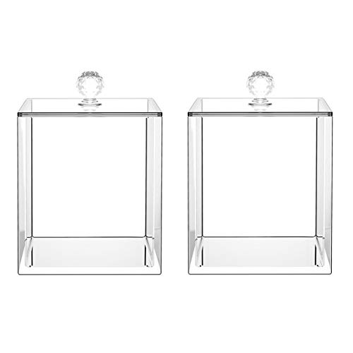 Dingelex Acrylic Qtip Holder Apothecary Jars Bathroom,Qtip Dispenser Storage Canister Clear Plastic Jar for Cotton Ball,Swab,Rounds,Pad with Lid, 2 Pack