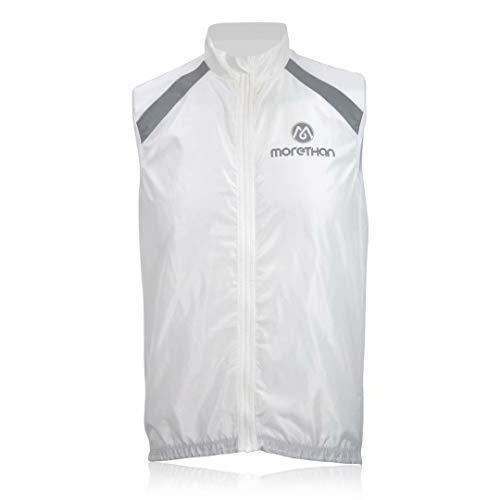 Morethan ウインドブレーカー ベスト 袖なし ノースリーブ 防風 バックポケット付き メンズ WVP-010、ホワイト、M