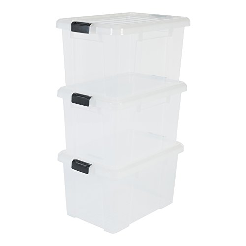 Amazon Basics 135742 Kunststoff DIY Aufbewahrungsbox \'Power Box\', Plastik, transparent, 50 Liter
