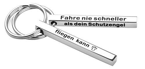 iTemstore24 Schlüsselanhänger Schutzengelgravur - Anhänger - perfektes Geschenk mit Liebesbotschaft - aus Edelstahl - mit Gravur - inkl. Samtbeutel