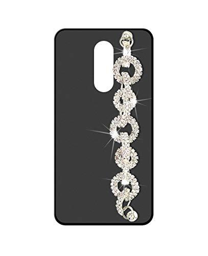 Sunrive Kompatibel mit ZTE Axon 7 Mini Hülle Silikon,Handykette Glitzer Diamant Strass Handyhülle matt Schutzhülle Etui Kette Hülle Backcover Handschlaufe(Ring) MEHRWEG