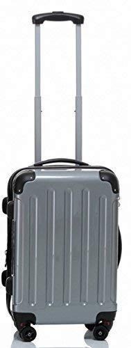 BEIBAY TOP- Hartschalen-Kabinentrolley 55 cm, 4 Rollen, Dehnfalte, schwarz, Silber oder rot, Trolley - Koffer (Silber)