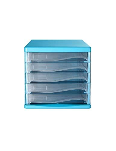 FACAIA Archivadores Decoración de Escritorio Familiar Caja de Almacenamiento 5 cajones Estantería organizadora de Escritorio de plástico (Color: C)