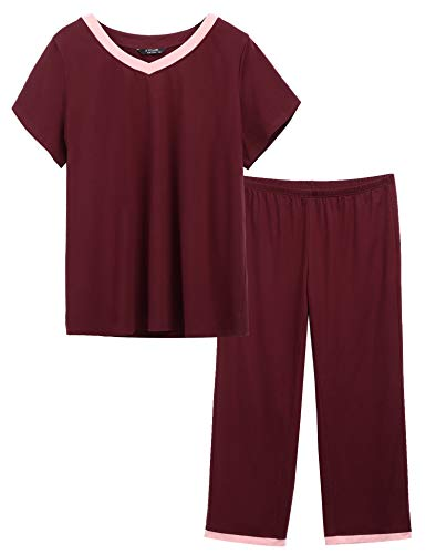 IN'VOLAND Womens Plus Size Pajamas V-Neck Sleepwear Short Sleeves Top with Pants Pajama Sets Wine Red