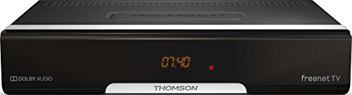 Thomson DVB-T2 ontvanger, digitale HD-ontvanger, freenet TV, antenne-ontvanger, HEVC H.265 decoder, HDMI, USB, scart, Dolby, display, zwart Standaard design. zwart