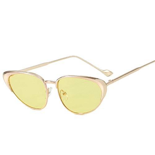 Gafas De Sol Hombre Mujeres Ciclismo Gafas De Sol De Moda para Mujer con Montura De Metal Vintage para Hombre, Gafas De Sol, Gafas Retro para Mujer, Amarillo