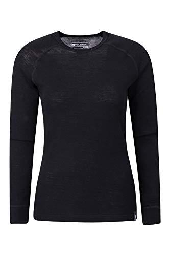 Mountain Warehouse Top térmico Interior de Lana Merina para Mujer - Camiseta Ligera para Mujer, Transpirable, Antibacteriana Negro 38