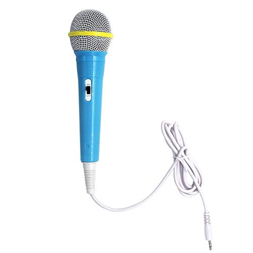 Kids Boy Girl Christmas Gift Wired Microfoon Musical Instrument Zingende MIC Kinderen Grappige Gift muziek speelgoed microfoon Toy (Color : Blue)