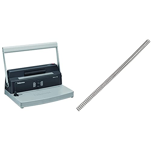 Fellowes Metal 50R Encuadernadora manual de espiral metálico, uso frecuente, con rodillo insertador eléctrico + 5110301 Pack de 100 espirales metálicas 10 mm, negras