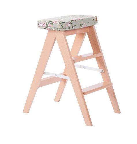 Aishang - Taburete plegable de madera maciza de estilo europeo para cocina, silla plegable de escalera creativa para el hogar, adulto, silla de escalada de 150 kg de capacidad