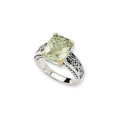Plata de ley 925 con anillo de amatista verde de 14 quilates 4.80 tamaño L 1/2 joyería regalos para mujeres