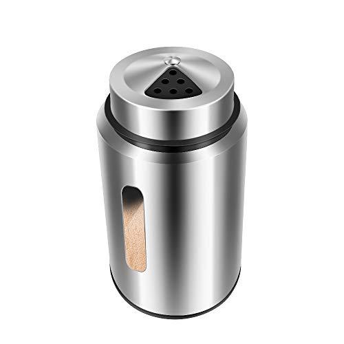 Cosaux Gewürzstreuer Edelstahl WQ013 Silber Gewürzdosen mit Sichtfenster & 3 Fach Streuregulierung Gewürzgläser für Gewürze Kräuter