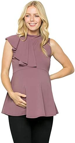 My Bump Maternity Cascading Side Ruffle Peplum Top W Mock Neck Made in USA D Lavender NPAB Large product image