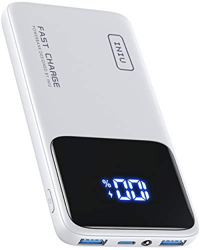 INIU Batería Externa 10500mAh, 18W PD3.0 QC4.0 Carga Rápida Pantalla LED Power Bank, Cargador Portatil más Delgado con Soporte para Teléfono y Linterna Compatible con iPhone12Pro Samsung Huawei y más