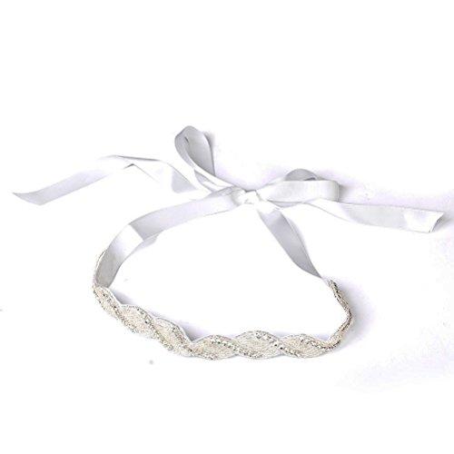 Pixnor Mariage Bandeau Strass Perle décorée Barrettes A Cheveux (Blanc)