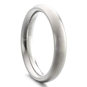 Heideman Ring Damen und Herren Paari aus Edelstahl Silber Farben poliert oder matt Damenring für Frauen und Männer Partnerringe 4mm breit schmaler gewölbter Ring strichmatt Gr.55 hr7021-4-55