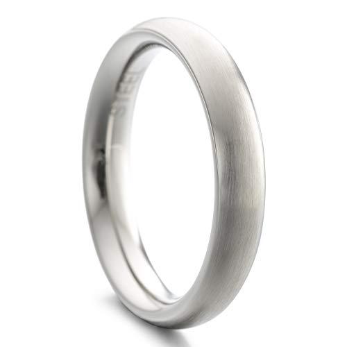 Heideman Ring Damen und Herren Paari aus Edelstahl Silber Farben poliert oder matt Damenring für Frauen und Männer Partnerringe 4mm breit schmaler gewölbter Ring strichmatt Gr.54 hr7021-4-54