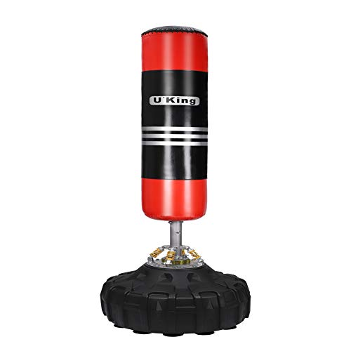 U'King Boxsack Freistehender Standboxsack Boxpartner Boxing Trainer Heavy Duty Boxsack Set Stehend Boxsäule Tumbler (Red)
