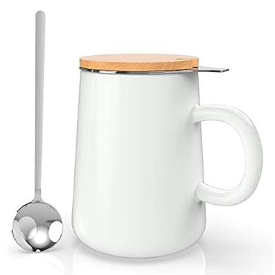 J-FAMILY Porcelain Tea Mug with Infuser,Lid,Drip Tray,Tea Spoon,All In One Tea Infuser Cup for Loose Leaf Tea Brewing,Tea Mug Gift Set for Tea Lover,15oz,Matte White