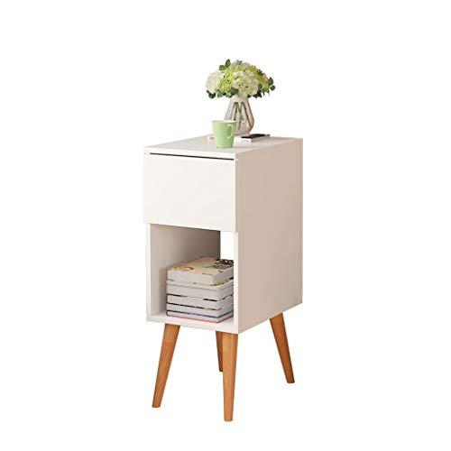 Yyqx Mesita de noche Mesa de café pequeña mesita de noche Mesa de centro redonda de madera blanca para dormitorio sala de estar