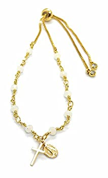 LESLIE BOULES Rosary Bracelet for Women White Crystal Beads Chain Miraculous and Tiny Cross Pendants