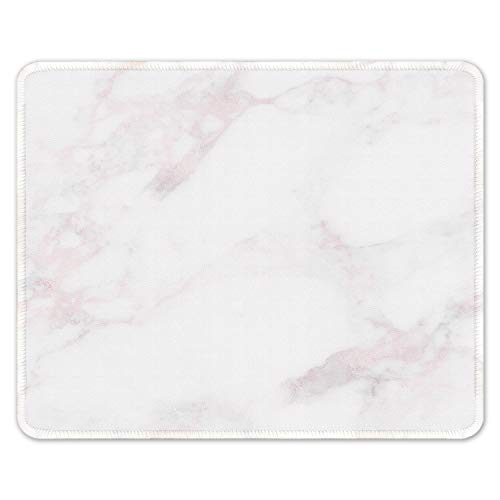 Auhoahsil Mouse Pad, Square Marble Design Anti-Slip Rubber Mousepad with Stitched Edges for Office Gaming Laptop Computer PC Men Women, Pretty Custom Pattern, 11.8' x 9.8', Modern Pink White Marble
