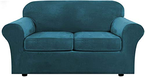 LINGKY Velvet Sofa Cover with 2 Separate Cushion Covers, Stretch Ultra Soft Plush Sofa Slipcover Replacement Anti-Slip Furniture Protector with Elastic Bottom (Deep Teal,2 Seater(122-172cm))