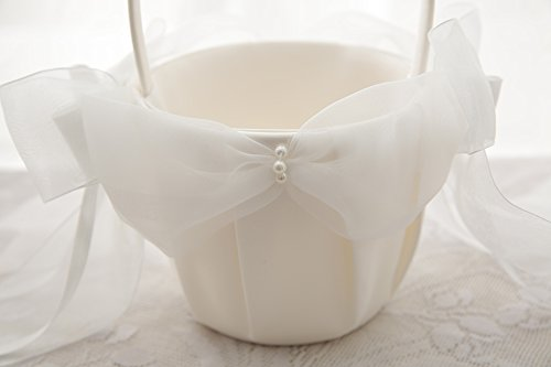 Flower Girl Basket Wedding Collection Traditional Ivory (Model 01-01)