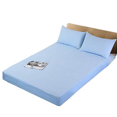 Oksmsa Funda de colchón ajustable con funda de rizo impermeable, extra profunda, antideslizante, duradera para dormitorios y hoteles (color: azul, tamaño: 180 x 200 cm)