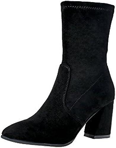 KHSKX-Punta Gruesa Con High-Heeled schuhe Y Stiefel De damen Stiefel De Martin El Nuevo Cremallera Lateral Satinado Stiefel único