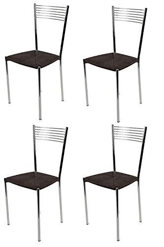 Tommychairs - Set 4 sillas Elegance para Cocina, Comedor, Bar y Restaurante, Estructura en Acero Cromado y Asiento en simil Paja Color wengué