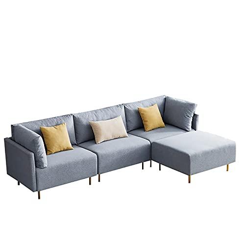 HAZYJT Sofá rinconera con función para Dormir, sofá Cama de 276 cm Sofá seccional de Lino, sofá en Forma de L con Almohadas, sofá Fundas de sofá Gruesas y Suaves, 1 2 3 4 plazas Gris