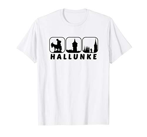 Halle Saale Hallunke Silhouette Hallenser Geschenk Idee T-Shirt