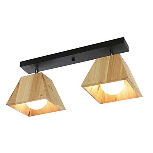 Houten lamp, led, geometrische vorm, moderne plafondlamp, van hout, tafellamp, creatief, vierkant, zwart, zuigplaat van smeedijzer, restaurant, woonkamer, kinderkamer, allee, 360 ° & graden Celsius.