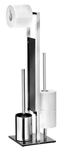 Wenko Stand Rivalta WC porta scopino, in acciaio inox, lucido, 20x 18x 70cm