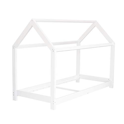 Puckdaddy Hausbett Finn – 200x90 cm, Kinder-Bett aus Holz in Weiß mit Bettrahmen im Hausbett-Design & Rolllattenrost, hochwertiges Kinderzimmer & Jugendbett für Kinder von 3-16 Jahren