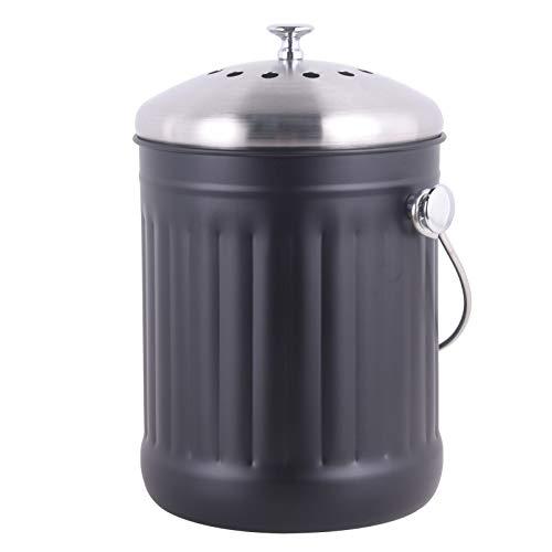 Mari Chef Indoor Compost Bin - Black Stainless Steel Waste Caddy &...
